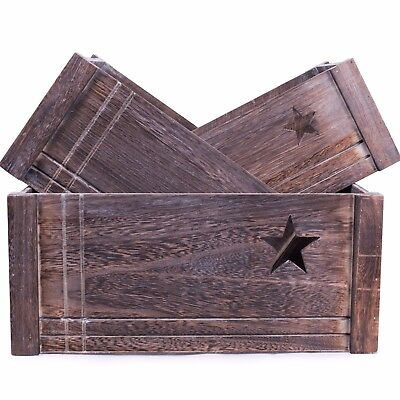 Star-Shaped Cut Out Wooden Crate Retail Display Storage Christmas Gift Hamper