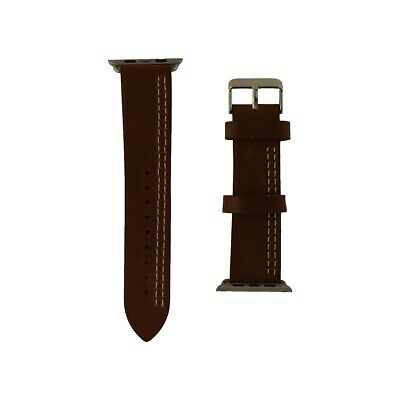iGear 42mm Apple Watch strap Chestnut/Cream leather & silver buckle