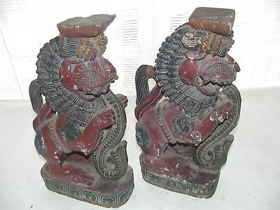 2 Antique 18/19 Century Southeast Asia Wood Statue, Buddhist Lion Eating Serpent