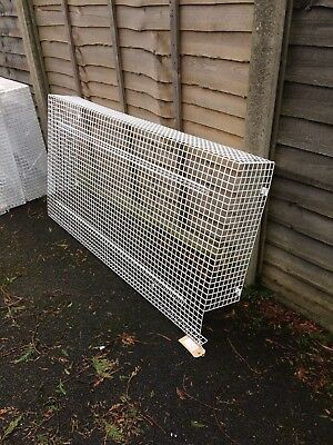 Heater guards extra large white pvc coated wire, with access gaps at the sides