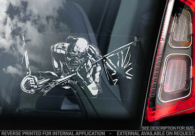 Iron Maiden 'Trooper'- Car Window Sticker -Killer Eddie Powerslave Skeleton -v06