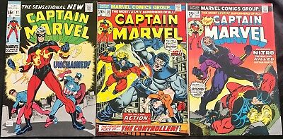 Lot Of 3 Captain Marvel (Marvel,1969-1974) #17, 30, 34 Silver/bronze Age