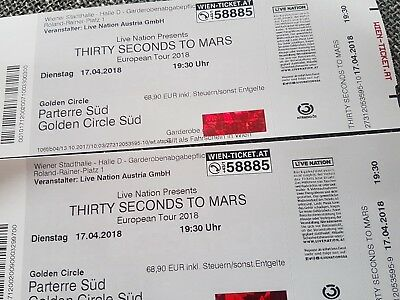 2 x 30 SECONDS TO MARS - am 17. April in Wien -Golden Circle -Sofort-Kauf 119,90