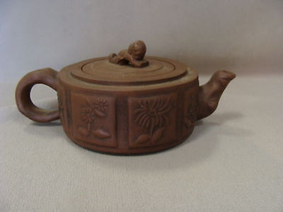Vintage Chinese Clay Panel Tea Pot Signed Foo Dog Top