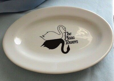 "Vintage The Plaza Towers dish  6 1/4"" oval dish  White/Black Swan  Mayer China"