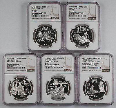 1993 China Silver 5 Yuan Invention series II 5 Coin Proof Set NGC 4x PF69 1 PF68