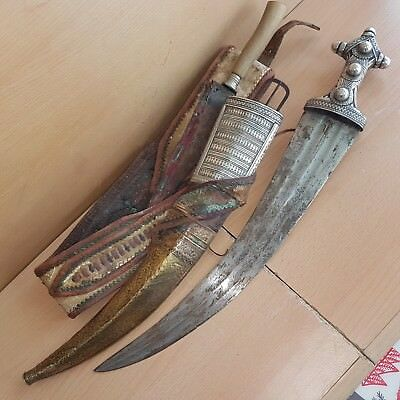 36# Old Islamic Saudi Dagger with Knife Jambiya Jambya Khanjar Bedouin