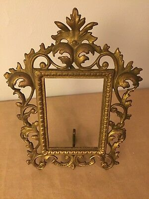 """Antique Brass Ornate Victorian Easel Style Standing 4""""x6"""""""" Picture Frame"""