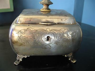 ANTIQUE AUSTRIA HUNGARY SIGNED FOOTED BOX ETROG DRESSER LOCK 1870s 950 STERLING