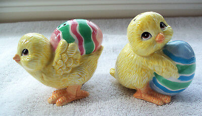 Fitz And Floyd Chicks And Egg Salt And Pepper Shakers - Chicks W/ Easter Eggs