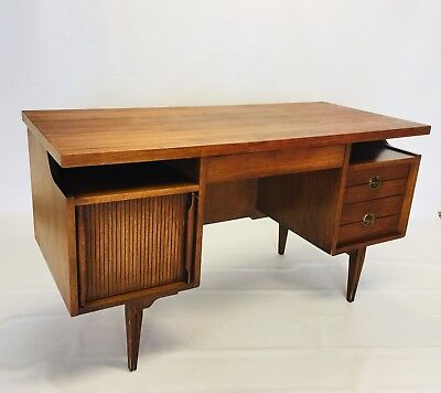 Vintage Floating Top  Walnut Desk By Hooker Mid Century Danish Modern