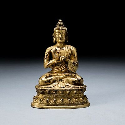 18th or Later Chinese Antique Gilt Bronze Medicine Buddha A806