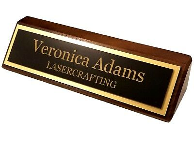 Executive Name Plate - Black walnut with Laser Engraved gold plate - PERSONALIZE