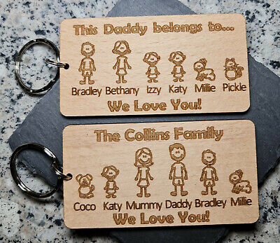 Personalised Fathers Day Gift Keyring Family Portrait Daddy Dad Gifts For Him