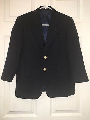 Nordstrom Navy Blue Wool Blend Two Button Blazer Boys Size 12H Husky Euc!