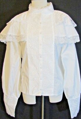 VICTORIAN HIGH NECK BLOUSE by RECOLLECTIONS. WHITE LACE size XL