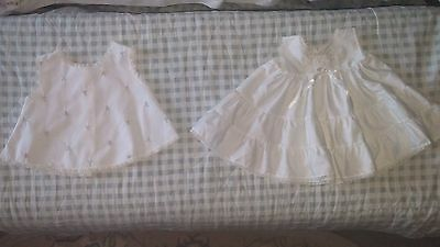 Vintage White Baby Slip And Sun Top With Pink Roses Mofit