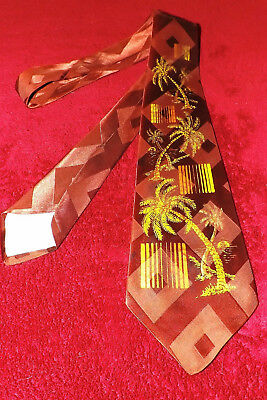 """1940's VINTAGE TIE > SCREEN PRINTED/HAND PAINTED """"RAPSONS/RAYON"""" NEW/OLD STOCK!!"""
