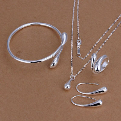 925 Silver Plated Water Drop Bracelet Bangle Ring Necklace Earrings Jewelry Set