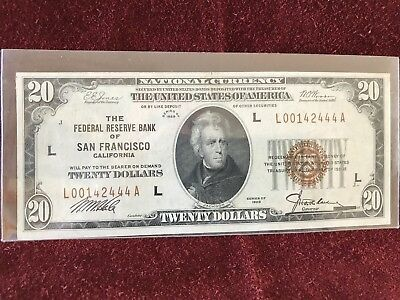 1929 $20 National Currency The Federal Reserve Bank Of San Francisco Ca   - Unc