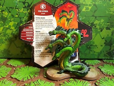 Heroscape Figure:Fen Hydra w/card from Champions Of The Forgotten Realm