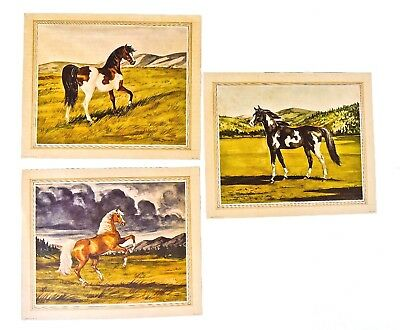 "Vintage Set Of 3 Jeanne Mellin Horse Prints 1949 10"" X 12"" Ready To Frame"