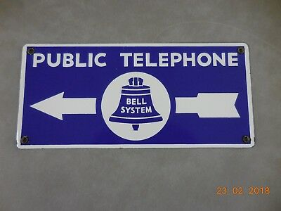Vintage Porcelain  Bell System Public Telephone Sign - Double Sided