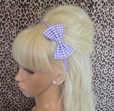 """Lilac White Gingham Print Fabric Small 3"""" Side Bow Satin Alice Hair Head Band"""