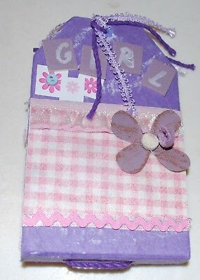 Handmade - 'Happy Girl' Purple Tag Album - 14x9cms - 8 Blank Pages
