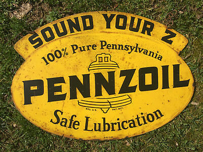 Original 1958 Pennzoil 2 Sided Sign
