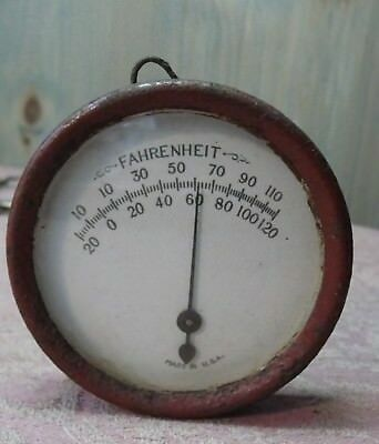"""Antique Steel & Glass Round Outdoor Thermometer Made in USA with 3 1/2"""" diameter"""