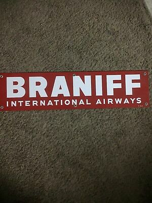 Mint condition Braniff International Airways Airlines Porcelain Sign