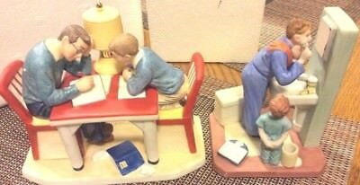 NORMAN ROCKWELL figurines 'LITTLE SHAVER' AND 'LIFE WITH FATHER'~W/BOXES~vintage