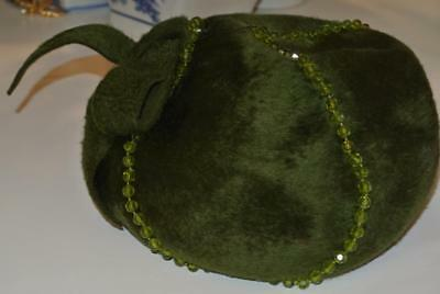 Ladies Vintage Green Beanie Hat With Glass Beads Made In Italy
