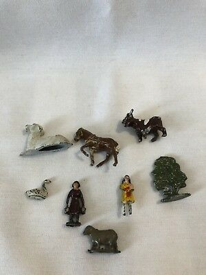 Vintage Lot of 8 Metal Lead Mini Animals - Bull Sheep Goat Swan Horse Maid