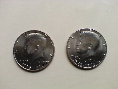 "1975-1976 P&D Kennedy Half Dollar Set Almost ""BU""  SUPER NICE  Clad"