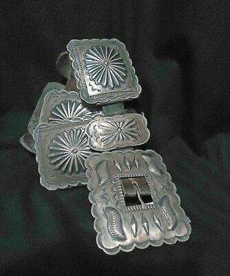 Heavy Vintage Native Navajo Geraldine Yazzie Hand Wrought All Silver Concho Belt