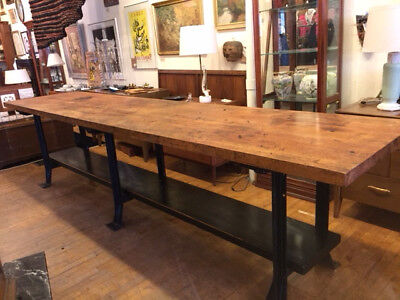 VINTAGE 1920s 12 ft MAPLE BUTCHER BLOCK & CAST IRON INDUSTRIAL TABLE WORK BENCH