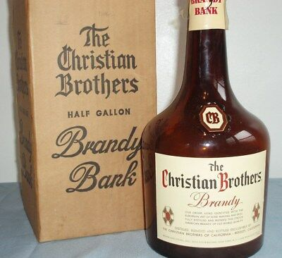 Christian Brothers Half Gallon Brandy Bank Vintage Bar Display Liqour Bottle