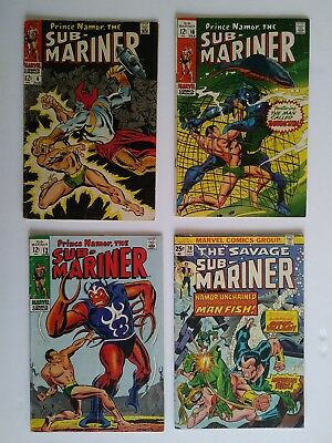 The Submariner #4, 10, 12, 70 (1968, Marvel) Lot Of 4 Silver/ Bronze Comic Books
