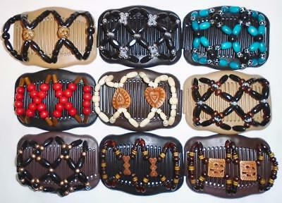 """Double Hair Combs, Angel Wings Clips 4x3.5"""", African Butterfly, Quality S73"""