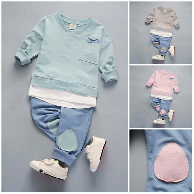 Kids toddler Baby boys girls outfits cotton tops+pants boys casual tracksuit