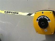 Retractable Barrier Tape -  25m.  Yellow/CAUTION