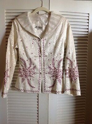 Wei Na Si  Jacket  Ivory Sateen  Purple Floral Embroidery , Sheer Collar Medium