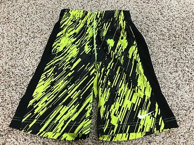 NIKE DRI-FIT ATHLETIC SHORTS YOUTH SIZE S Black Neon Yellow Print Polyester