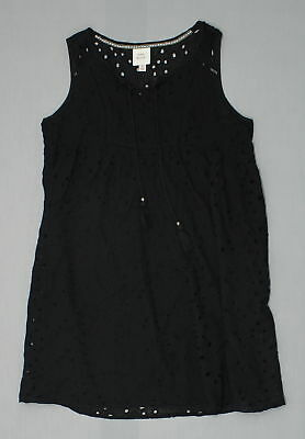 36a247965599f4 NEW KNOX ROSE Womens Eyelet Lined Shift Dress Black Large 10135 ...