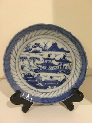 """5.25"""" Antique 18 or 19th CHINESE Export Canton Blue & White Porcelain Plate"""