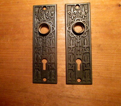 Pair Vintage Ornate Victorian Cast Iron Door Plates Interior Door Knob Hardware