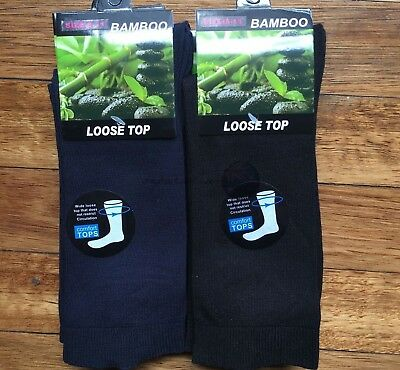 6 Pairs SIZE 6-11 95% Loose Top BAMBOO SOCKS Medical Diabetic Comfort Black/Navy