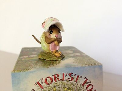 Wee Forest Folk NM-1b  SPRING NIBBLE MOUSE, Green -  MINT in Box